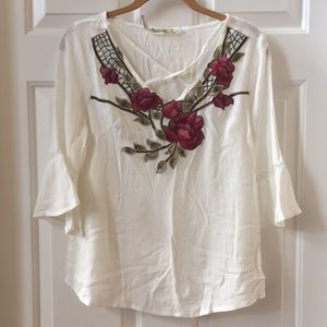 Ivory Blouse with Floral Embroidery.